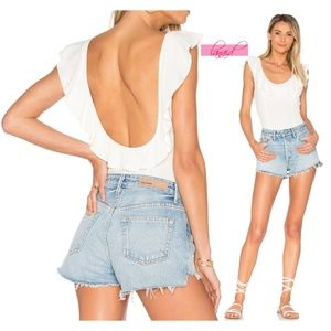 FP Uh Huh Bodysuit Open Low Back Ruffle Romper XS